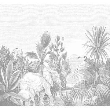 ESTAhome fotobehang jungle-motief grijs