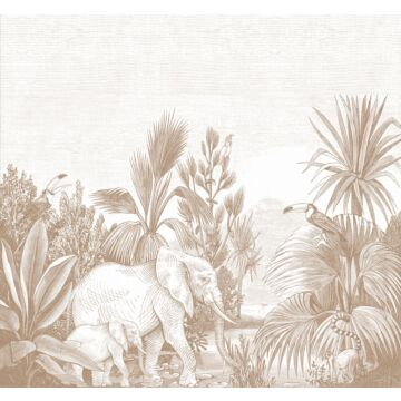 ESTAhome fotobehang jungle-motief terracotta