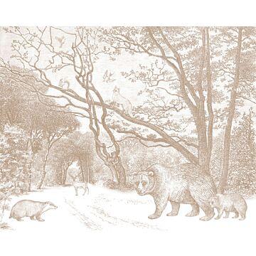 ESTAhome fotobehang bos met bosdieren terracotta