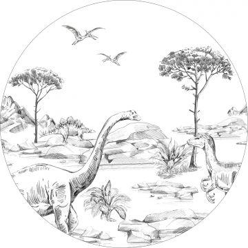 ESTAhome zelfklevende behangcirkel dinosaurussen zwart wit