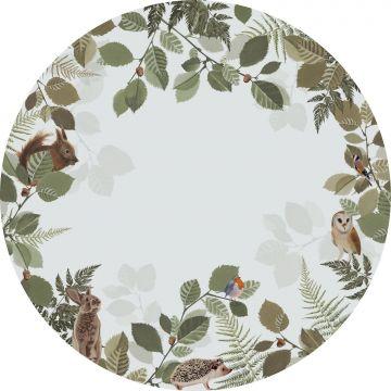 ESTAhome zelfklevende behangcirkel bosdieren groen en bruin