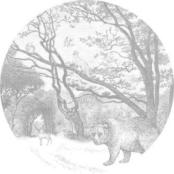 ESTAhome zelfklevende behangcirkel bos met bosdieren grijs