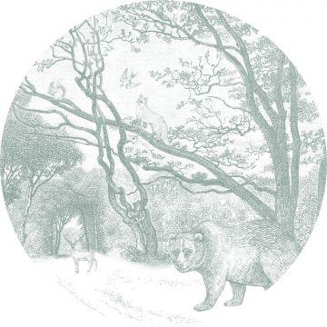 ESTAhome zelfklevende behangcirkel bos met bosdieren groen