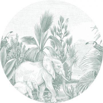 ESTAhome zelfklevende behangcirkel jungle-motief groen