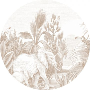 ESTAhome zelfklevende behangcirkel jungle-motief donker beige