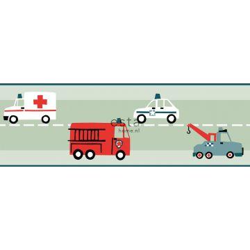 ESTAhome zelfklevende behangrand auto's, brandweerauto's, helikopters en kranen mintgroen