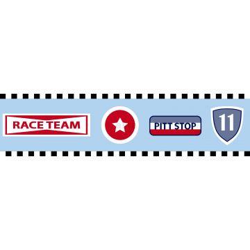 behang rand raceteam emblemen hemelsblauw van ESTA home