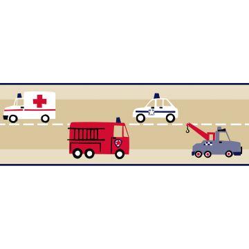 behang rand brandweerauto en politieauto beige, rood en blauw van ESTA home