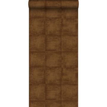 behang effen glanzend koper bruin van Origin