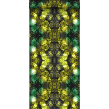 behang kaleidoskoop-motief geel en groen van Origin