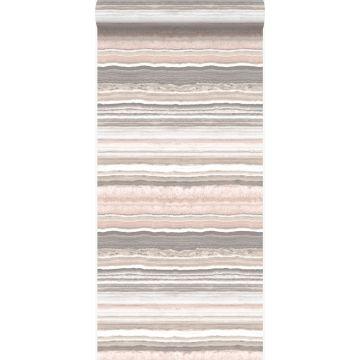 behang gelaagd marmer steen perzik roze en beige van Origin
