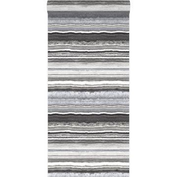 behang gelaagd marmer steen zwart en wit van Origin