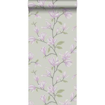 behang magnolia zeegroen en lila paars van Origin