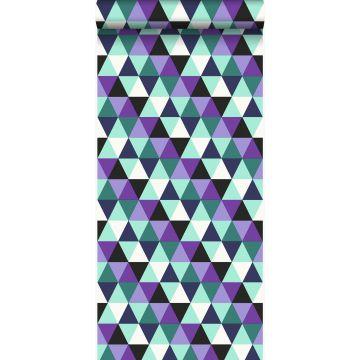 behang grafische driehoeken paars en licht azuurblauw van Origin