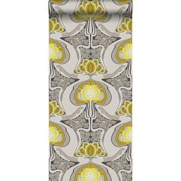 behang jugendstil bloemmotief okergeel en grijs van Origin