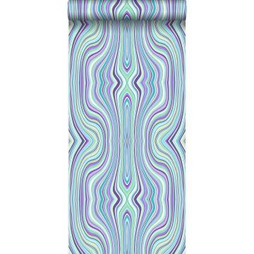 behang grafische lijnen turquoise en paars van Origin