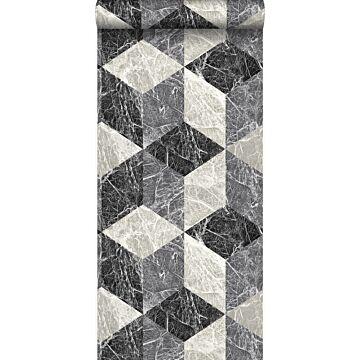 behang 3D marmer motief zwart en grijs van Origin