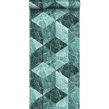 behang 3D marmer motief smaragd groen van Origin