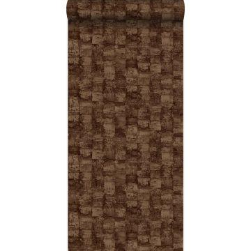 behang met structuur glanzend koper bruin van Origin