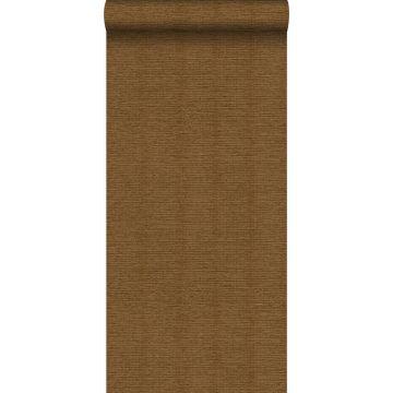 behang linnenstructuur roest bruin van Origin
