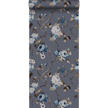 behang bloemen vintage blauw en taupe van Origin