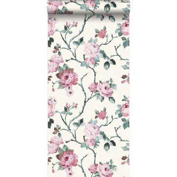 behang bloemen wit en licht roze van Origin