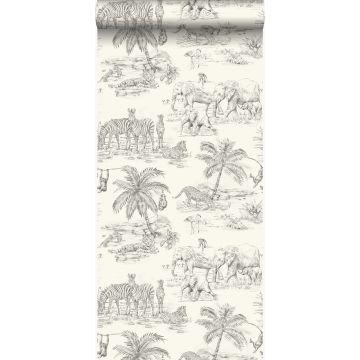 behang jungle-motief ivoor wit en grijs van Origin