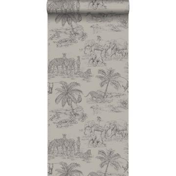 behang jungle-motief klei grijs van Origin