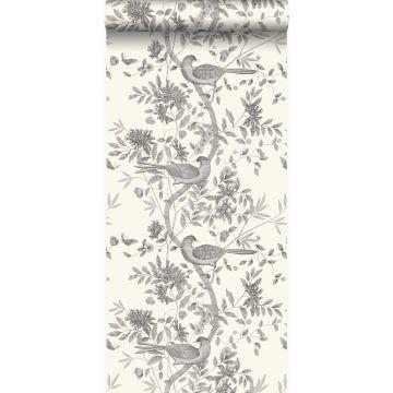 behang vogel gravure ivoor wit en grijs van Origin