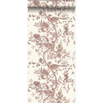 behang vogel gravure ivoor wit en glanzend koper bruin van Origin