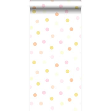 behang stip pastel geel, pastel perzikoranje, poederroze en mat wit van Origin