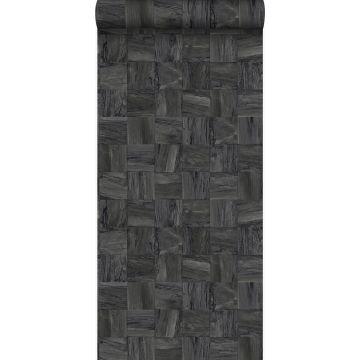 eco texture vlies behang sloophout motief zwart van Origin