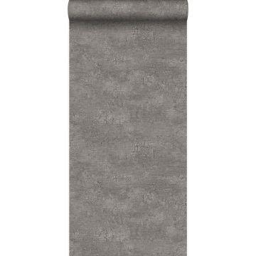 behang natuursteen met craquelé effect taupe van Origin