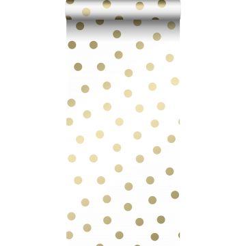 behang kleine stippen wit en goud van Origin