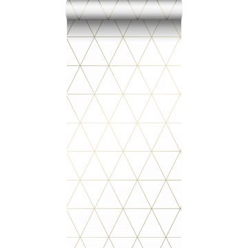 behang grafische driehoeken wit en goud van Origin