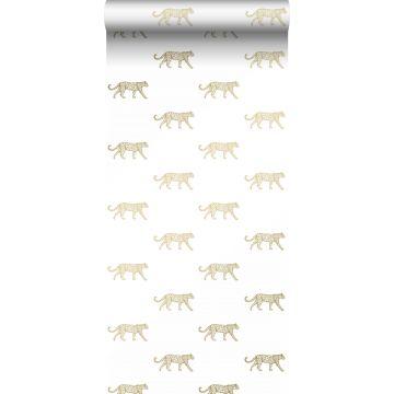 behang panters wit en goud van Origin