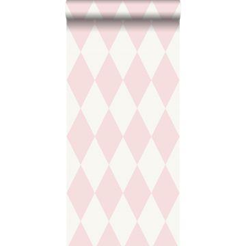 behang ruiten glanzend roze van Origin