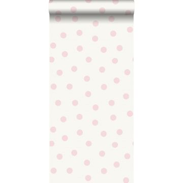 behang kleine stippen glanzend roze en wit van Origin