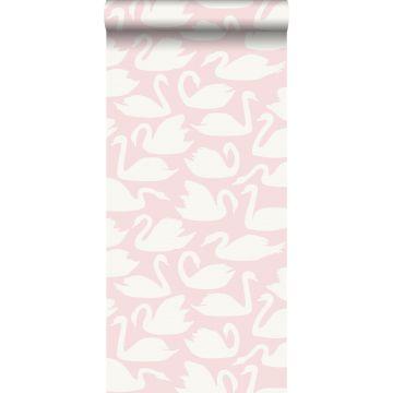 behang zwanen roze en wit van Origin