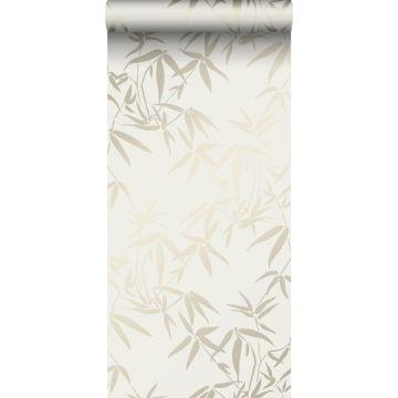 behang bamboe bladeren beige van Origin