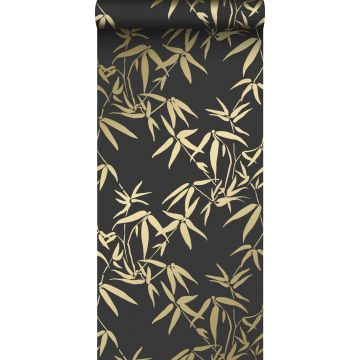 behang bamboe bladeren zwart en goud van Origin