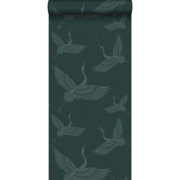 behang kraanvogels petrolblauw van Origin