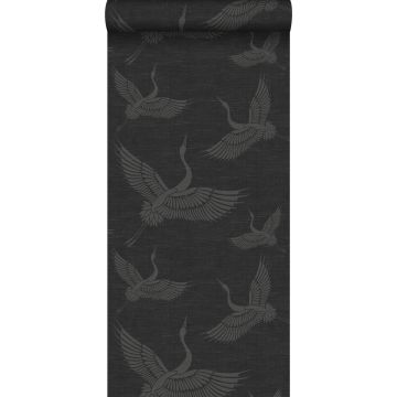 behang kraanvogels donkergrijs van Origin