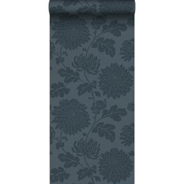 Origin behang bloemen donkerblauw