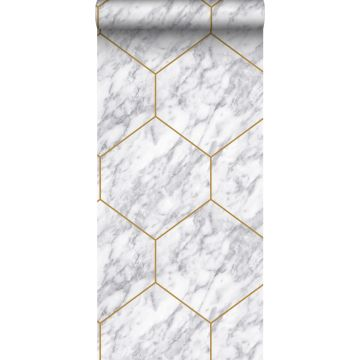 Origin behang hexagon met marmer effect wit, grijs en goud