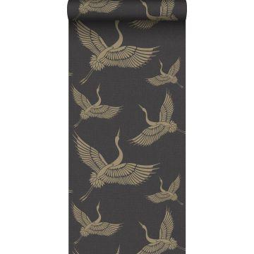 Origin behang kraanvogels zwart en goud
