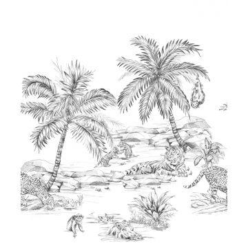fotobehang safari pentekening zwart wit van Origin