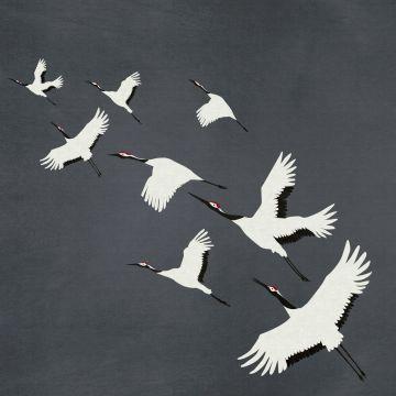 fotobehang kraanvogels donkergrijs van Origin