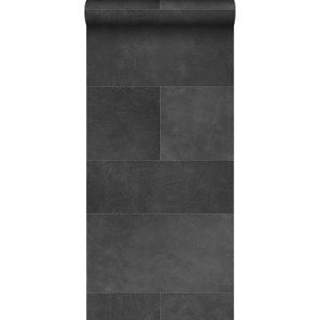 vlies wallpaper XXL tegelmotief met leer look donkergrijs van Origin