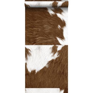 vlies wallpaper XXL koeienhuid-look bruin en wit van Origin